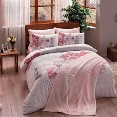 Постельное белье с пледом ТАС Ранфорс Armina v02 розовый