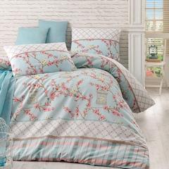 Постельное белье Eponj Home Ранфорс Birdcage бирюзовый