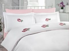 Постельное белье Cotton Box Сатин с вышивкой Rose Pembe