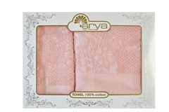 Набор полотенец Arya Жаккард 50х90 - 70х140 Faralya розовый