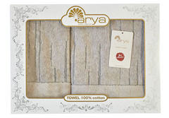 Набор полотенец Arya Жаккард 50х90 - 70х140 Way бежево-серый
